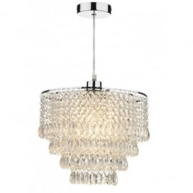 Dionne Ceiling Light Pendant Shade In Polished Chrome Finish With Clear Glass Droplets