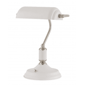 Admiral Bankers Lamp in White and Satin Nickel