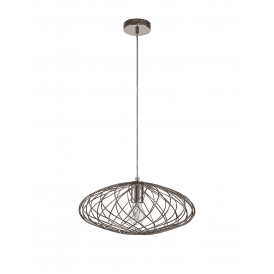 Discovery Aviary Single Light Oval Ceiling Pendant in Polished Nickel Finish