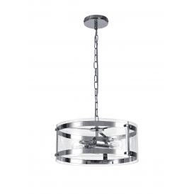 Discovery Bobbin 2 Light Ceiling Pendant in Polished Chrome Finish