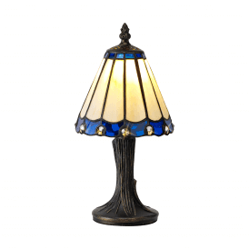 Discovery Dresden Single Light Tiffany Style Table Lamp with Blue Detail