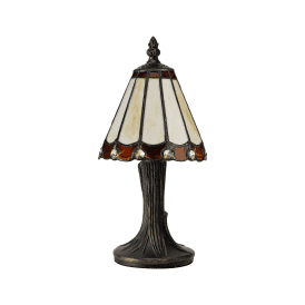 Discovery Dresden Single Light Tiffany Style Table Lamp with Brown Detail