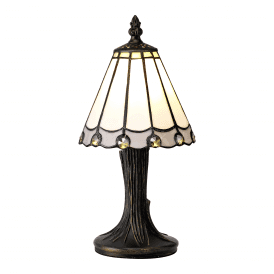 Discovery Dresden Single Light Tiffany Style Table Lamp with Grey Detail