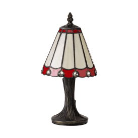 Discovery Dresden Single Light Tiffany Style Table Lamp with Red Detail