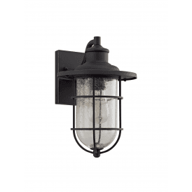 Crusader Single Light Outdoor Wall Fitting in Black Gold Finish