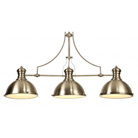 Endeavour 3 Light Ceiling Fitting in Antique Brass Finish