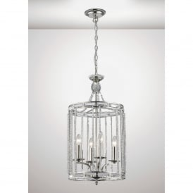 Adina 4 Light Ceiling Pendant In Polished Nickel And Crystal Finish