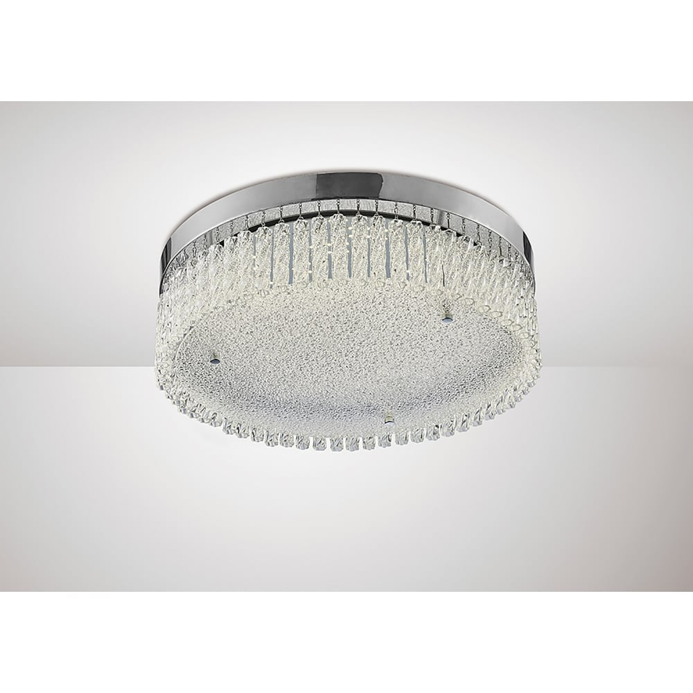 Aiden Led Flush Large Circular Ceiling Fitting In Polished Chrome And Crystal Finish