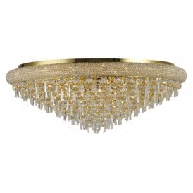 Alexandra 18 Light Semi-Flush Ceiling Fitting in Gold Finish with Asfour Crystal Detail