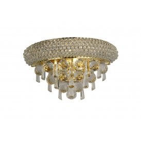 Alexandra 2 Light Small Gold Wall Fixture with Asfour Crystal Detail