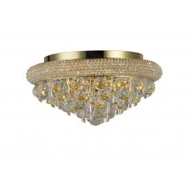 Alexandra 6 Light Semi Flush Ceiling Fitting in French Gold Finish and Crystals