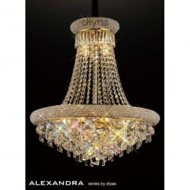 Alexandra 9 Light French Gold Ceiling Pendant with Crystal Detail
