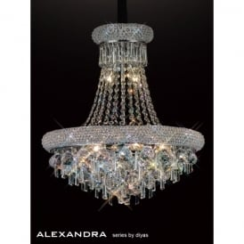 Alexandra 9 Light Polished Chrome Ceiling Pendant with Crystal Detail