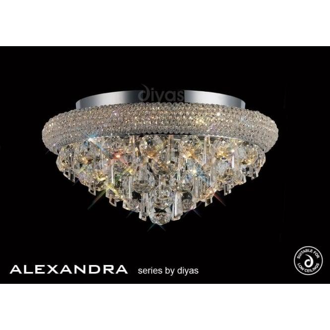 diyas alexandra semi flush 6 light polished chrome and crystal