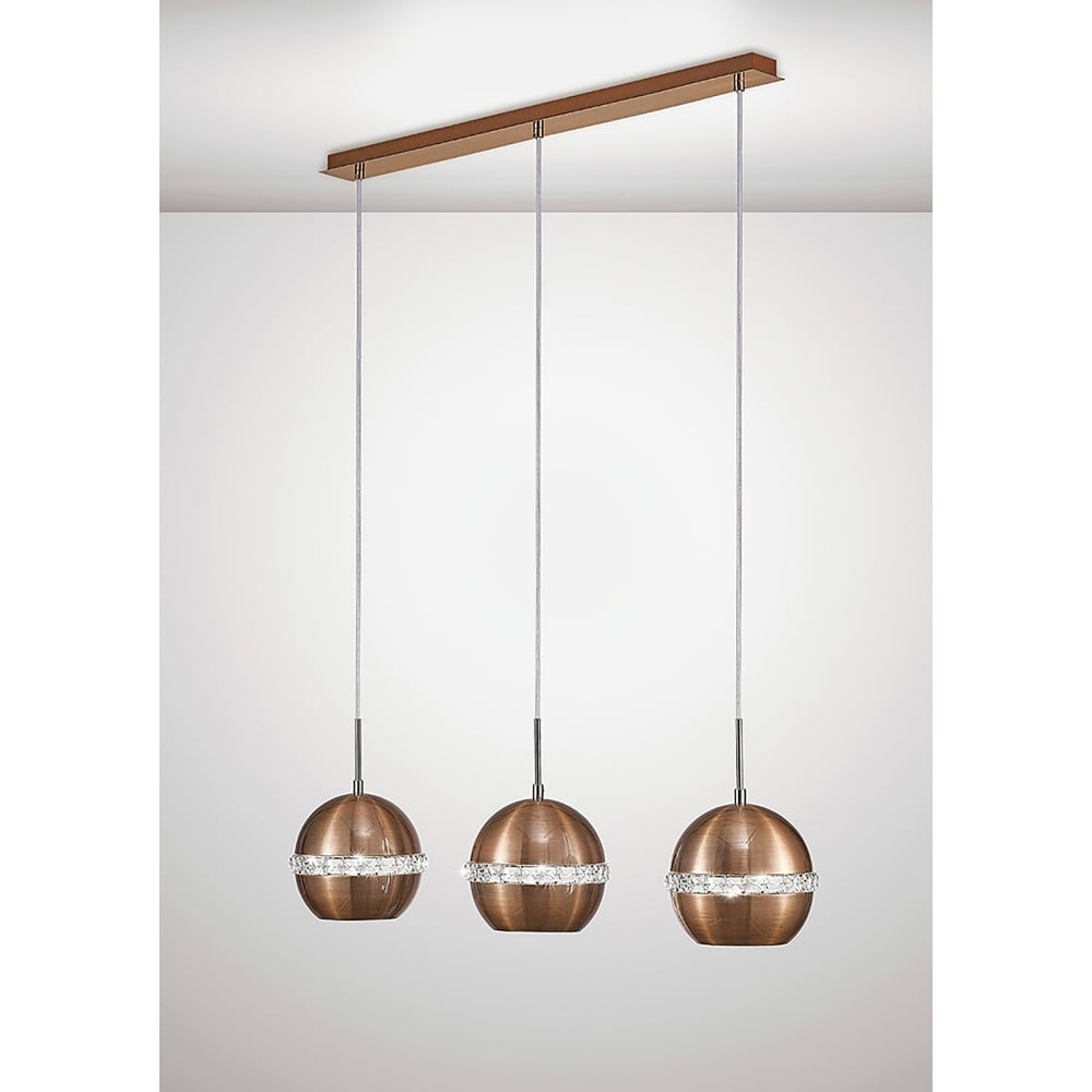 Diyas Andrea 3 Light Ceiling Bar Pendant In Copper And Crystal ...