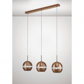 Andrea 3 Light Ceiling Bar Pendant In Copper And Crystal Finish