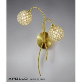 Apollo 2 Light Satin Gold Wall Fixture with Clear Crystal Buttons