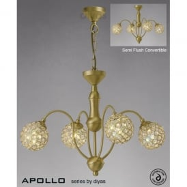 Apollo 4 Light Satin Gold Ceiling Fixture with Clear Crystal Buttons