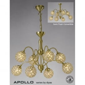 Apollo 8 Light Large Satin Gold Ceiling Fixture with Clear Crystal Buttons