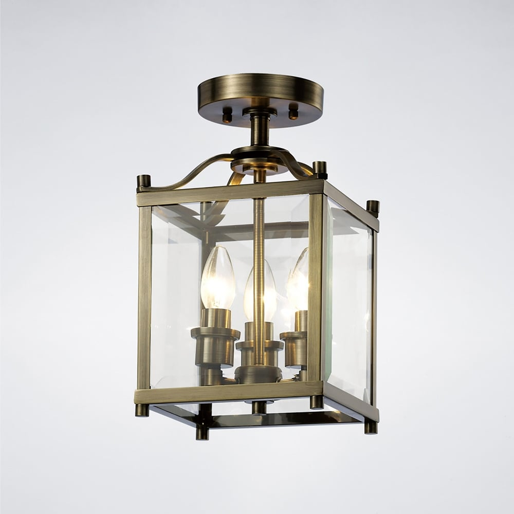 Diyas Aston 3 Light Semi Flush Ceiling Lantern In Antique Brass Finish