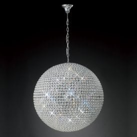 Ava 12 Light Ceiling Pendant In Polished Chrome And Crystal Finish