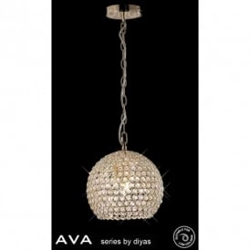 Ava 4 Light Crystal Ceiling Pendant in French Gold Finish