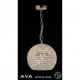 Ava 5 Light Crystal Ceiling Pendant in French Gold Finish