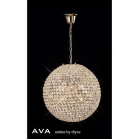 Ava 7 Light Crystal Ceiling Pendant in French Gold Finish