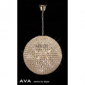 Ava 9 Light Crystal Ceiling Pendant in French Gold Finish