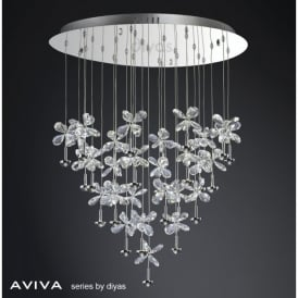 Aviva Large LED 28 Light Polished Chrome Ceiling Pendant with Crystal Petals