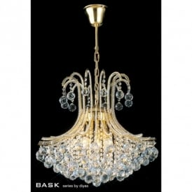 Bask Asfour Crystal & Gold Finish 6 Light Ceiling Pendant