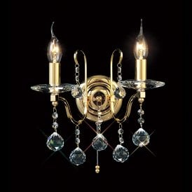 Bianco 2 Light French Gold Wall Fitting with Crystal Detail
