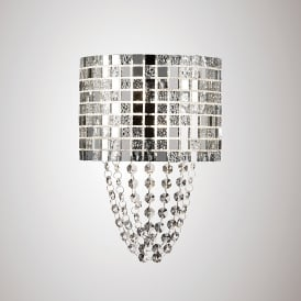 Camden 2 Light Wall Fitting In Polished Chrome Mosaic Glass And Crystal Finish