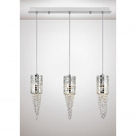 Camden 3 Light Ceiling Bar Pendant In Polished Chrome Mosaic Glass And Crystal Finish