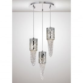 Camden 3 Light Ceiling Pendant In Polished Chrome Mosaic Glass And Crystal Finish
