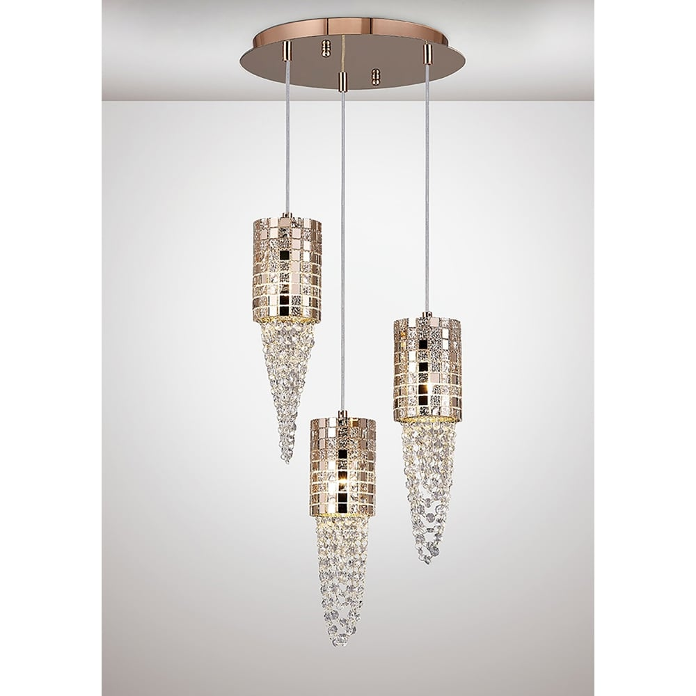 Diyas camden 3 light ceiling pendant in rose gold mosaic glass and camden 3 light ceiling pendant in rose gold mosaic glass and crystal finish aloadofball Image collections