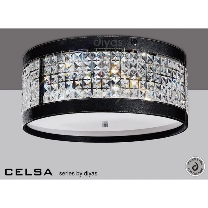 diyas celsa 4 light crystal ceiling fitting with black faux leather