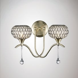 Chelsie 2 Light Wall Fitting In Antique Brass Finish