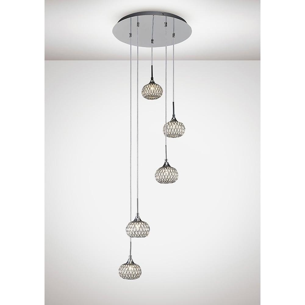 Diyas Savanna Ceiling 5 Light Polished Chrome//Crystal