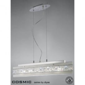 Cosmic 5 Light Frosted Glass Ceiling Pendant with Crystal and Polished Chrome