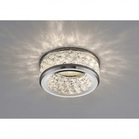 Dante Single Light Recessed Crystal Down Light With Polished Chrome Finish