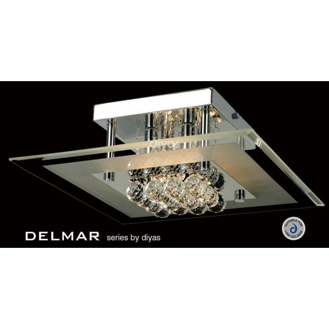 Delmar 4 Light Square Flush Ceiling Fitting With Asfour Crystals In  Polished Chrome Finish