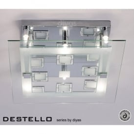 Destello 6 Light Ceiling Fixture in Polished Chrome with Square Crystal Detail
