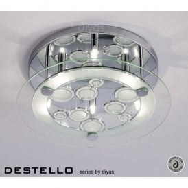 Destello Large 6 Light Ceiling Fitting in Polished Chrome with Circle Patterns