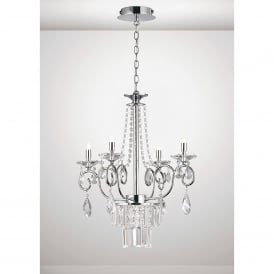 Eden 4 Light Ceiling Chandelier Pendant In Polished Chrome And Crystal Finish