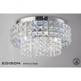 Edison Circular 4 Light Crystal Ceiling Fitting with Polished Chrome Finish