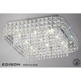 Edison Square 9 Light Large Ceiling Fitting in Polished Chrome and Crystal