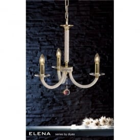 Elena 3 Light French Gold Chandelier with Crystal Detail