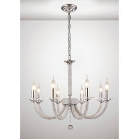 Elena 8 Light Chandelier In Polished Chrome Finish With Crystal Decoration