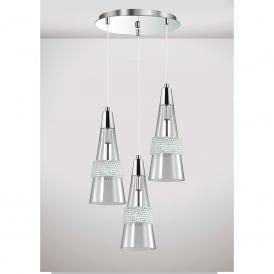 Emilia 3 Light Ceiling Pendant In Polished Chrome And Crystal Finish